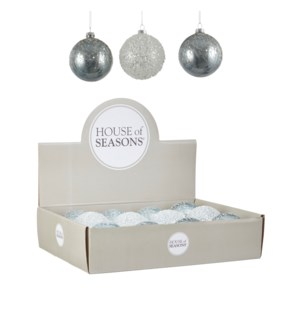 """Bauble glass blue 3 assorted display - 3.25"""""""