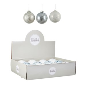 """Bauble glass white 3 assorted display - 4"""""""