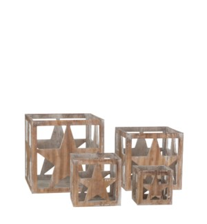 Tealight holder star brown set of 4 - 9.5x9.5x9.75""