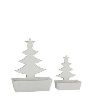 "Tray tree white wash set of 2 - 10.25x4x14.25"""