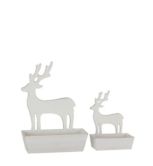 "Tray deer white wash set of 2 - 10.25x4x14.25"""