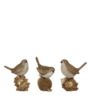 """Bird gold 3 assorted - 3.75x2.25x4.25"""""""