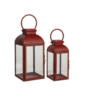 Lantern red set of 2 - 6.25x6.25x13.75""