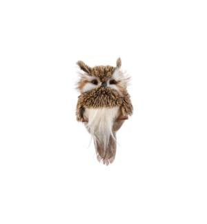 "Ornament owl brown - 6.25x3.25x1.5"""