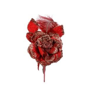 "Clip rose red - 14.25x9x3.25"""