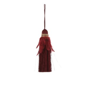 """Tassel feather d. red - 1.25x6.75"""""""
