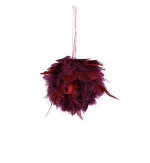 """Ornament ball feather d. red - 4.25"""""""