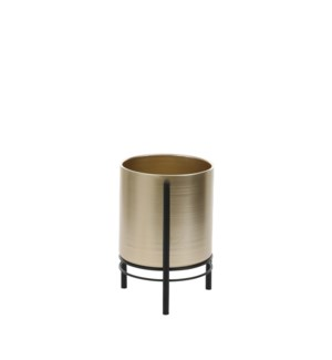 Sverre pot on stand gold - 7.5x11""