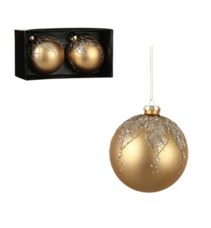 """Bauble glass gold 2 pieces - 4"""""""