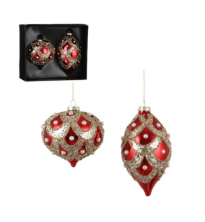 """Ornament onion drop red 2 pieces - 4"""""""