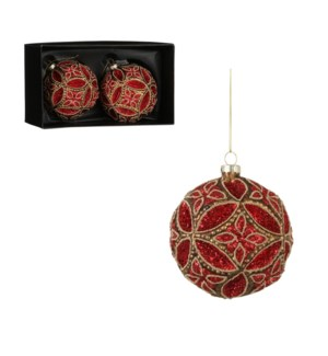 """Bauble glass red 2 pieces - 4"""""""