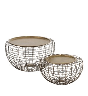 """Indiana side table copper set of 2 - 22.75x12.5"""""""