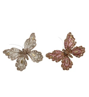 """Clip butterfly cream pink 2 assorted - 6.5x1.5x5"""""""