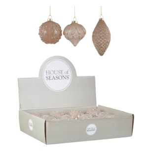 """Bauble glass champagne 3 assorted display - 3.25x3.5"""""""