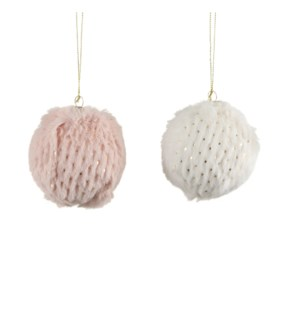 """Ornament ball white pink 2 assorted - 3.5"""""""
