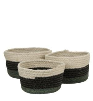 "Rica basket green set of 3 - 10.25x6"""
