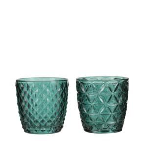 """Tealight holder green 2 assorted - 3x3"""""""