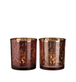 "Tealight holder pink purple 2 assorted - 3.25x3.5"""