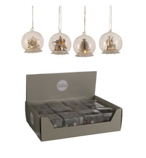 Bauble glass winter scene silver 4 assorted battery operated display - 3.25x3.5""