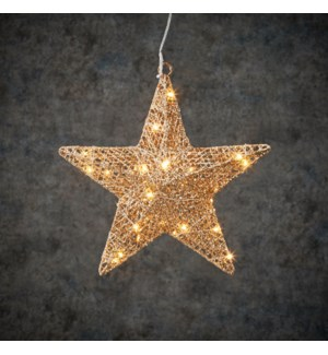 Decoration star champagne warm white 30led with battery operated - 2x11.75""