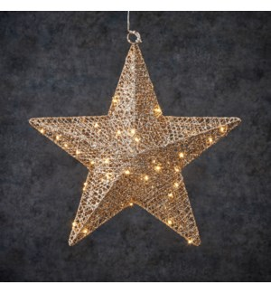 Decoration star champagne warm white 50led battery operated - 2.25x15.75""