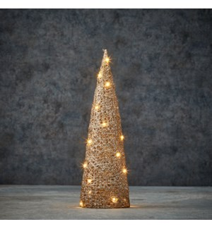 Decoration cone champagne warm white 20led battery operated - 5x16""