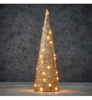 Decoration cone champagne warm white 40led battery operated - 6x19.75""