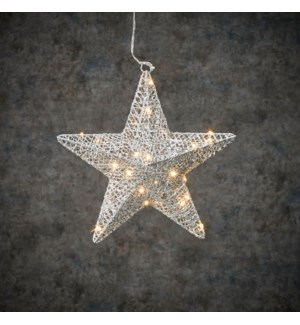 Decoration star silver warm white 30led battery operated - 2x11.75""