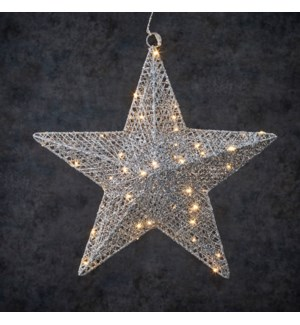 Decoration star silver warm white 50led battery operated - 2.25x15.75""