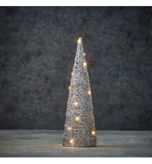 Decoration cone silver warm white 20led battery operated - 5x16""