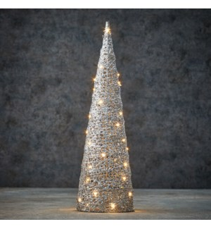 Decoration cone silver warm white 40led battery operated - 6x19.75""