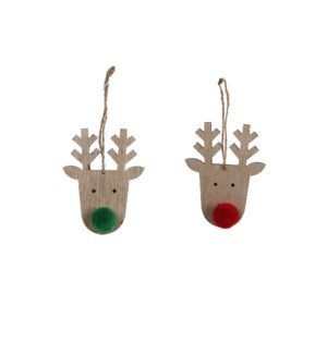 Ornament deer red green 2 assorted - 2.75x0.75x3.5""