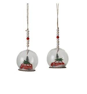 """Bauble glass car red 2 assorted - 3.25x3.5"""""""