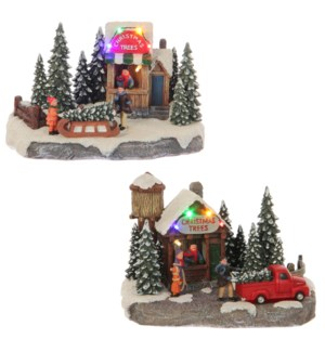 Market stall christmas trees 2 assorted battery operated - 8.25x5x6""
