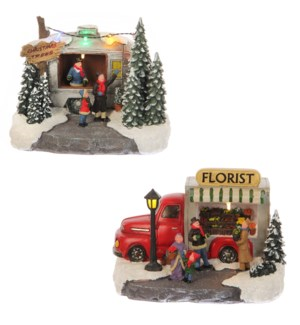 Market stall christmas trees and florist 2 assorted battery operated - 8x6x6""