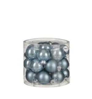 """Bauble glass blue 24 pieces - 1"""""""