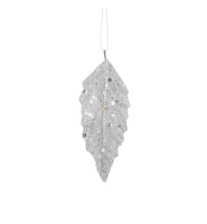 "Ornament leaf silver 6 pieces - 6x2.25"""