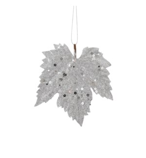 "Ornament maple leaf silver 6 pieces - 5.5x5.5"""
