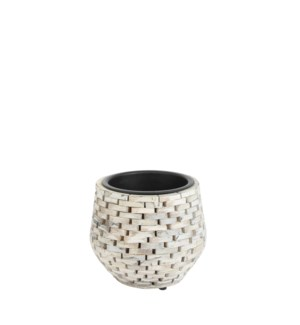 "Abbot pot round white wash - 10.25x9.5"""