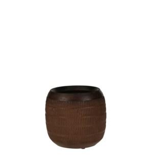 "Luso pot round brown - 6.25x6"""