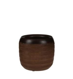 "Luso pot round brown - 8x7.5"""