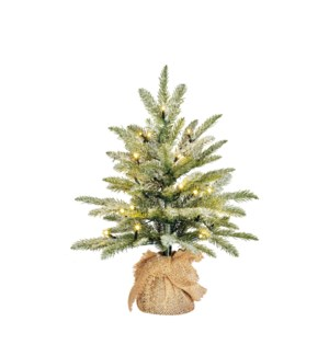 Brewer x-mas tree led BO green frosted w burlap - h45xd36cm