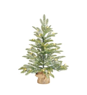 Brewer x-mas tree led BO green frosted w burlap - h60xd48cm