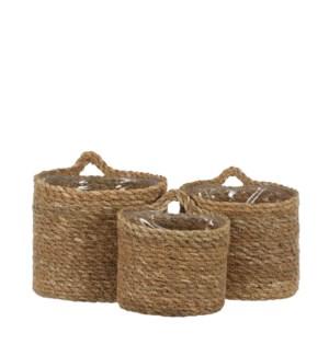 "Atlantic basket wallhanger l. brown set of 3 - 6.25x6.25"""