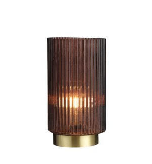 Dilano table lamp brown battery operated - 6x9.75""