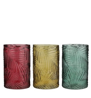 """Vase green yellow d. red 3 assorted - 5.75x9"""""""