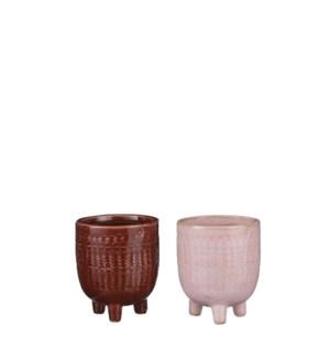 """Gwen pot round red pink 2 assorted - 3x3.5"""""""