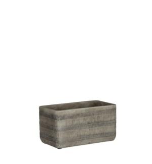 "Kyoto pot rectangle grey - 7.75x4x4"""