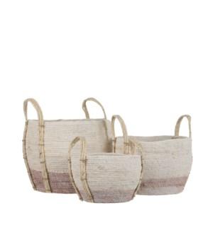 "Andros basket round pink set of 3 - 12.5x10.25"""