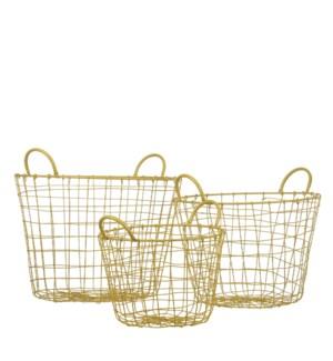 "Colin basket round yellow set of 3 - 15.75x14.25"""